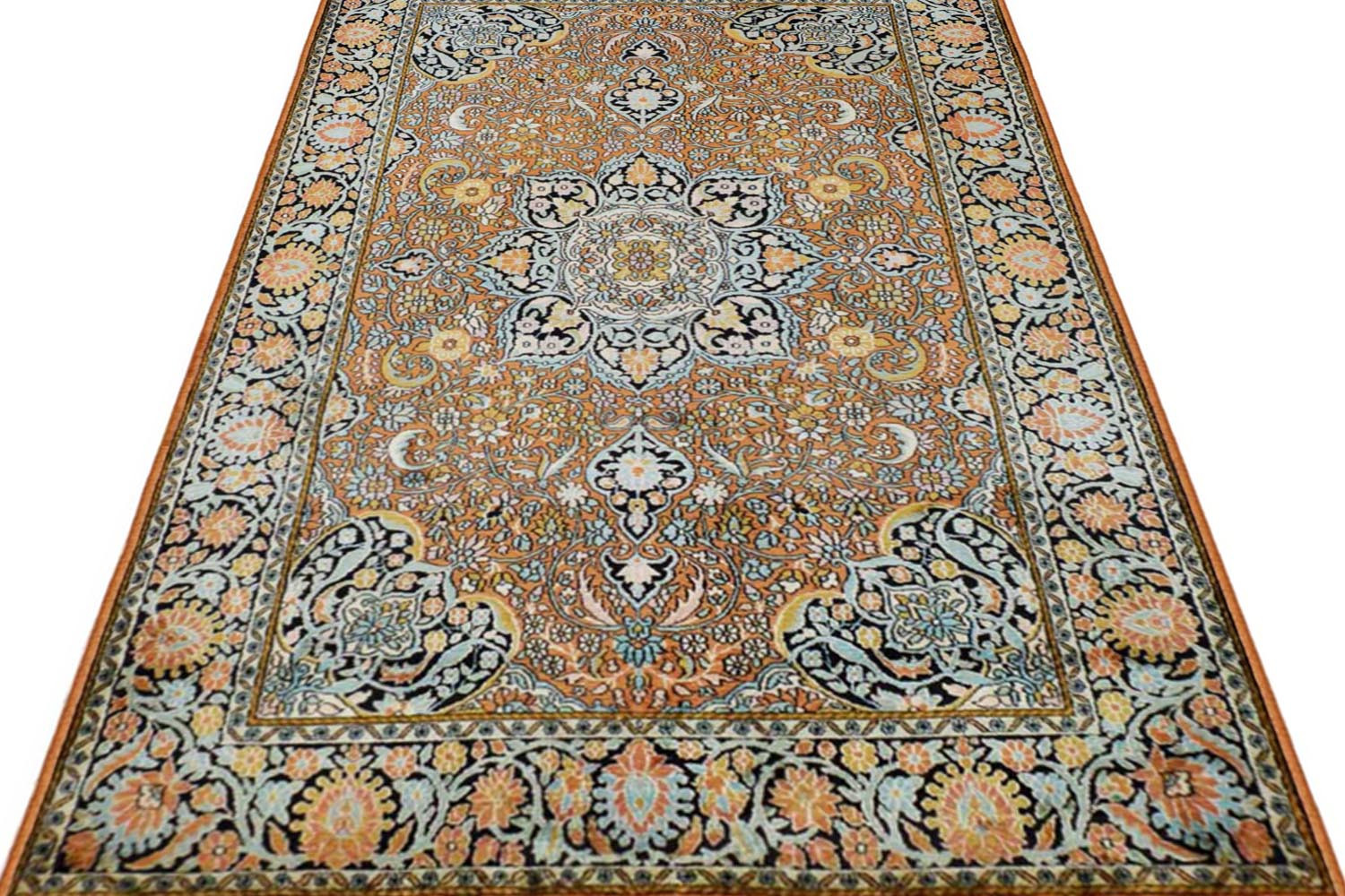 4 X 6 Gold Coin Kashan Silk Rug In Ivory Color At Rugs And