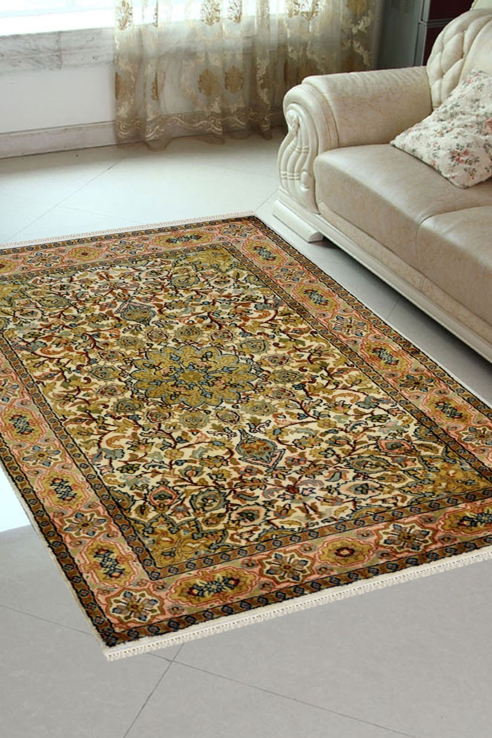 Green Turkish silk rug | Kashmir Silk