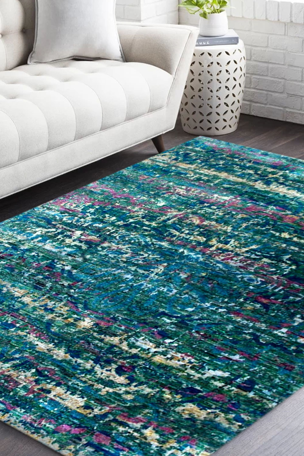 Deep Blue Sea Sari Silk Area Rug In Green And Blue Color At Low Price