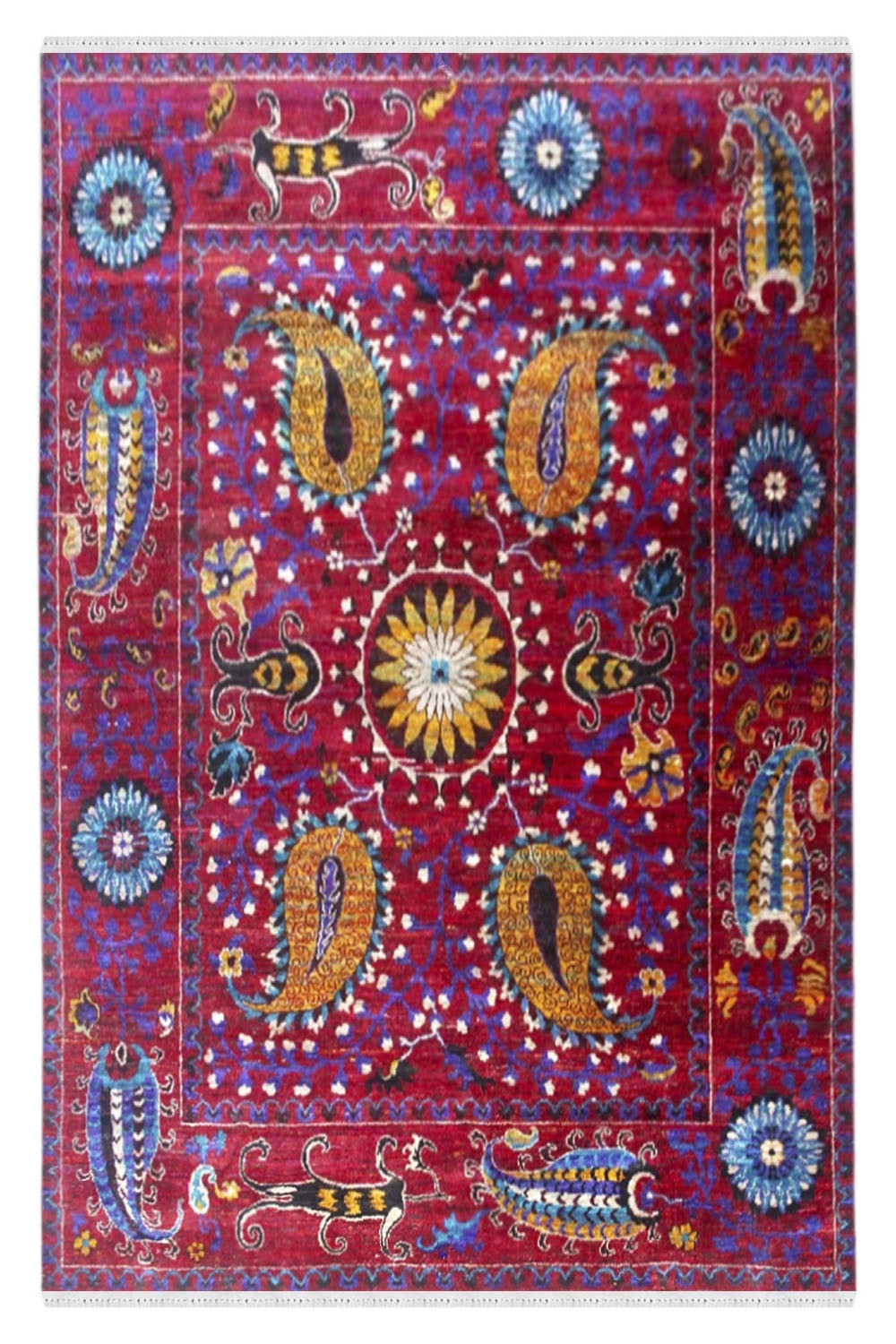Traditional Rangoli Sari Silk Carpet