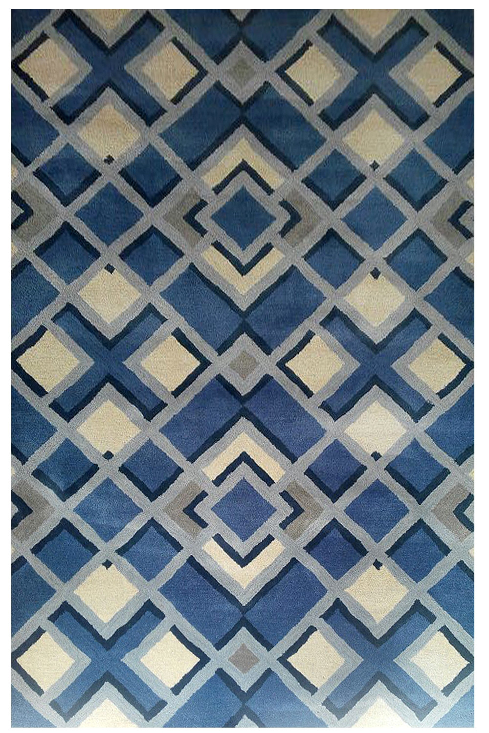 Beautiful Indigo Diamond Beautiful Handtufted Modern