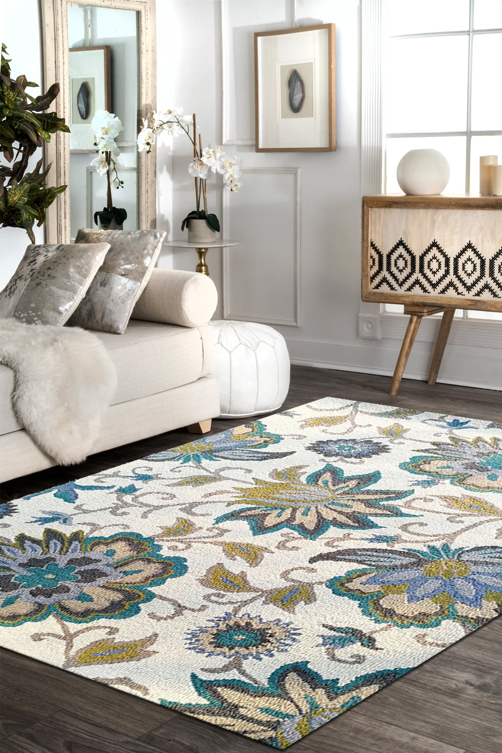 Eye Catching Turquoise Motifs Wool Handtufted Area Rug At Best Price