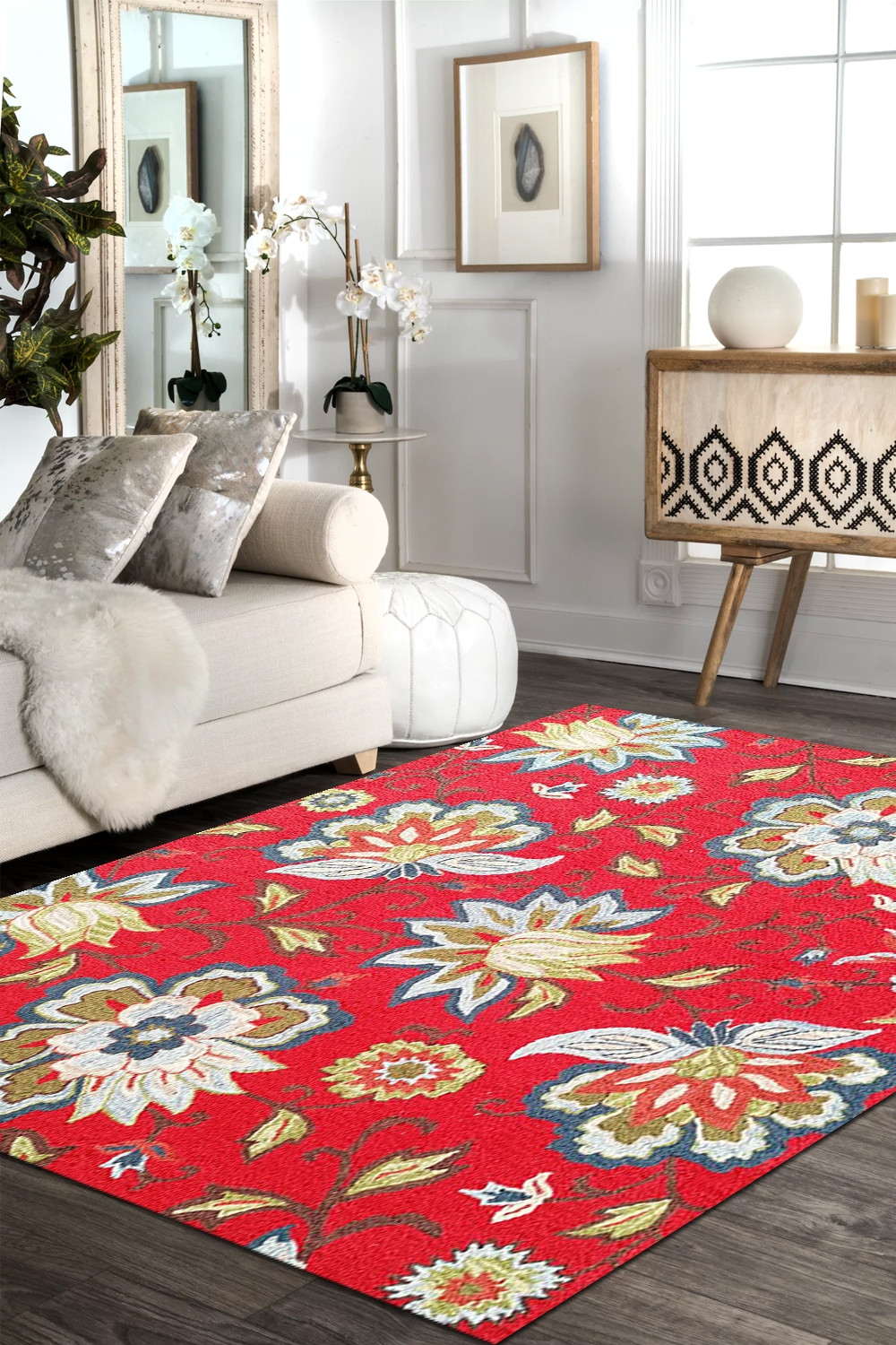 Fl Cherry Hand Tufted Wool Rug
