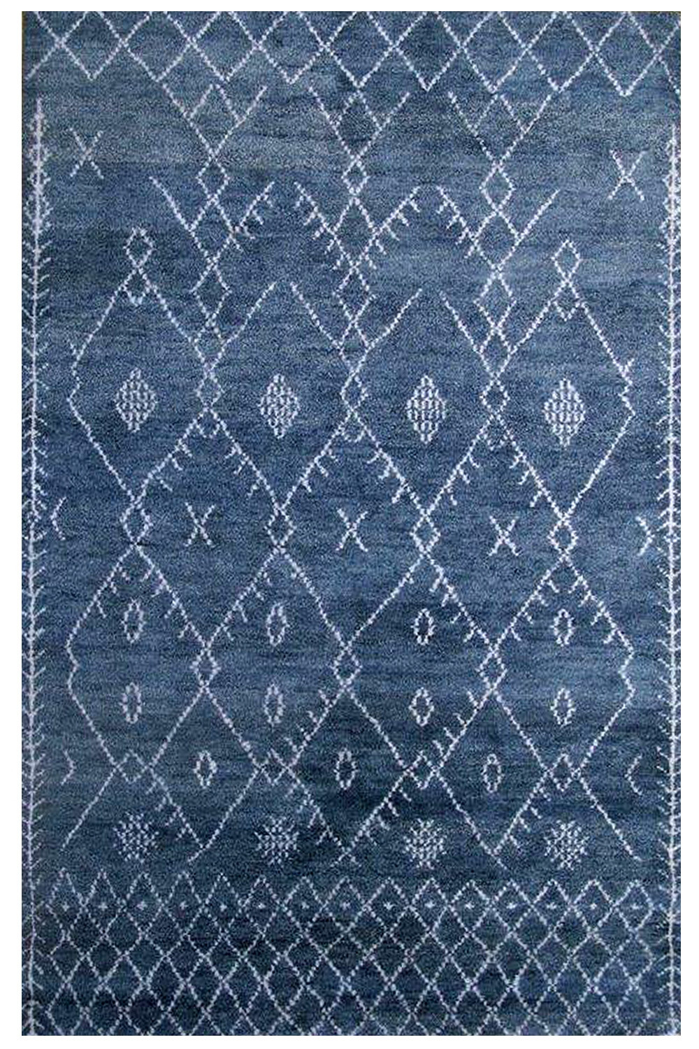 Purchase Beautiful Blue Denim Handknotted Moroccan Area Rug