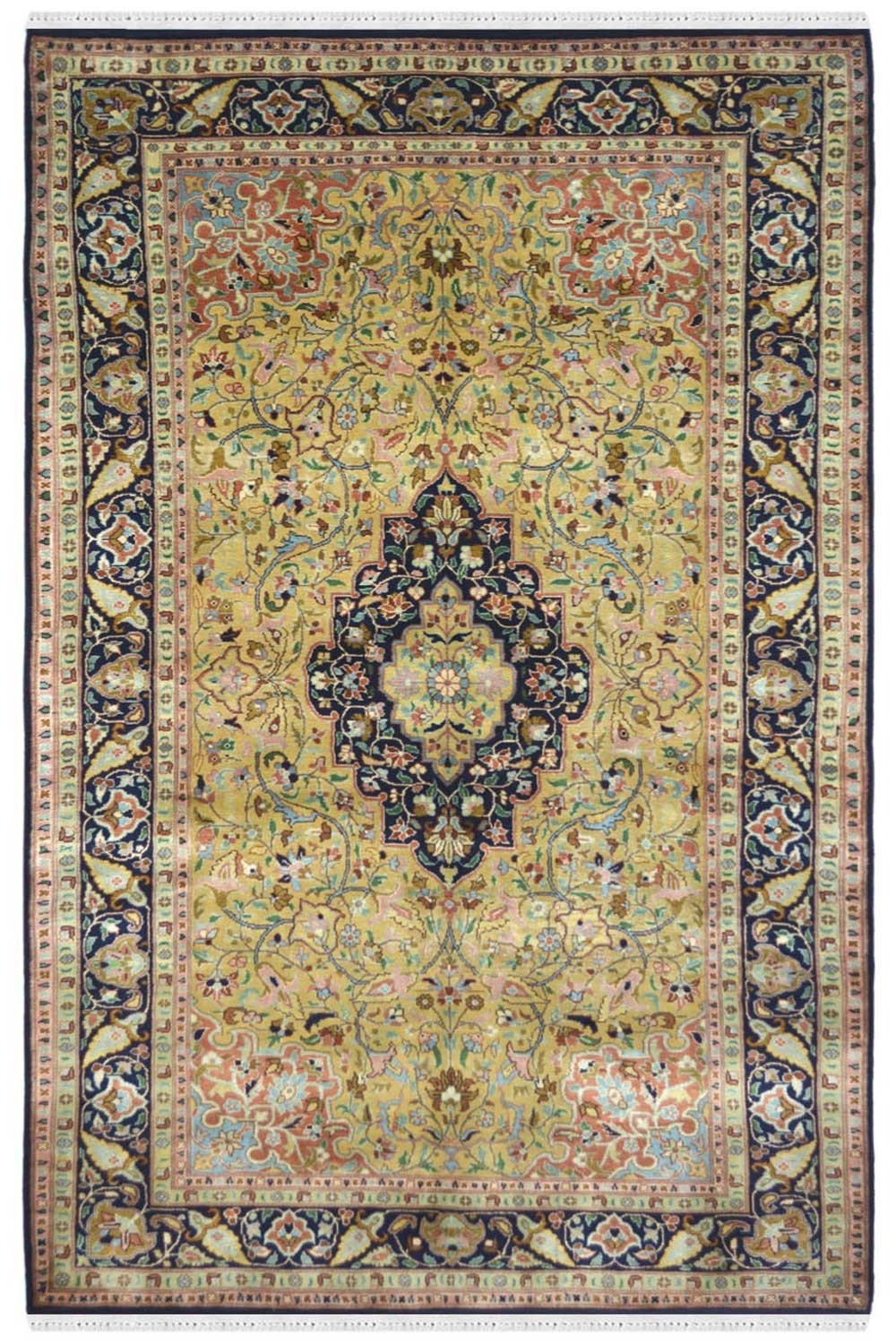 Kaala Sona Kashan Silk Carpet With Green And Blue Color