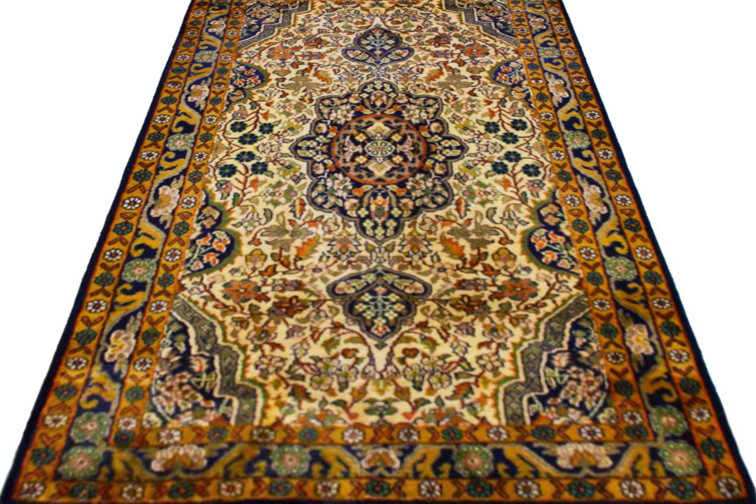 Kashan Mustered Kashmir Silk Rug In Cream Color At