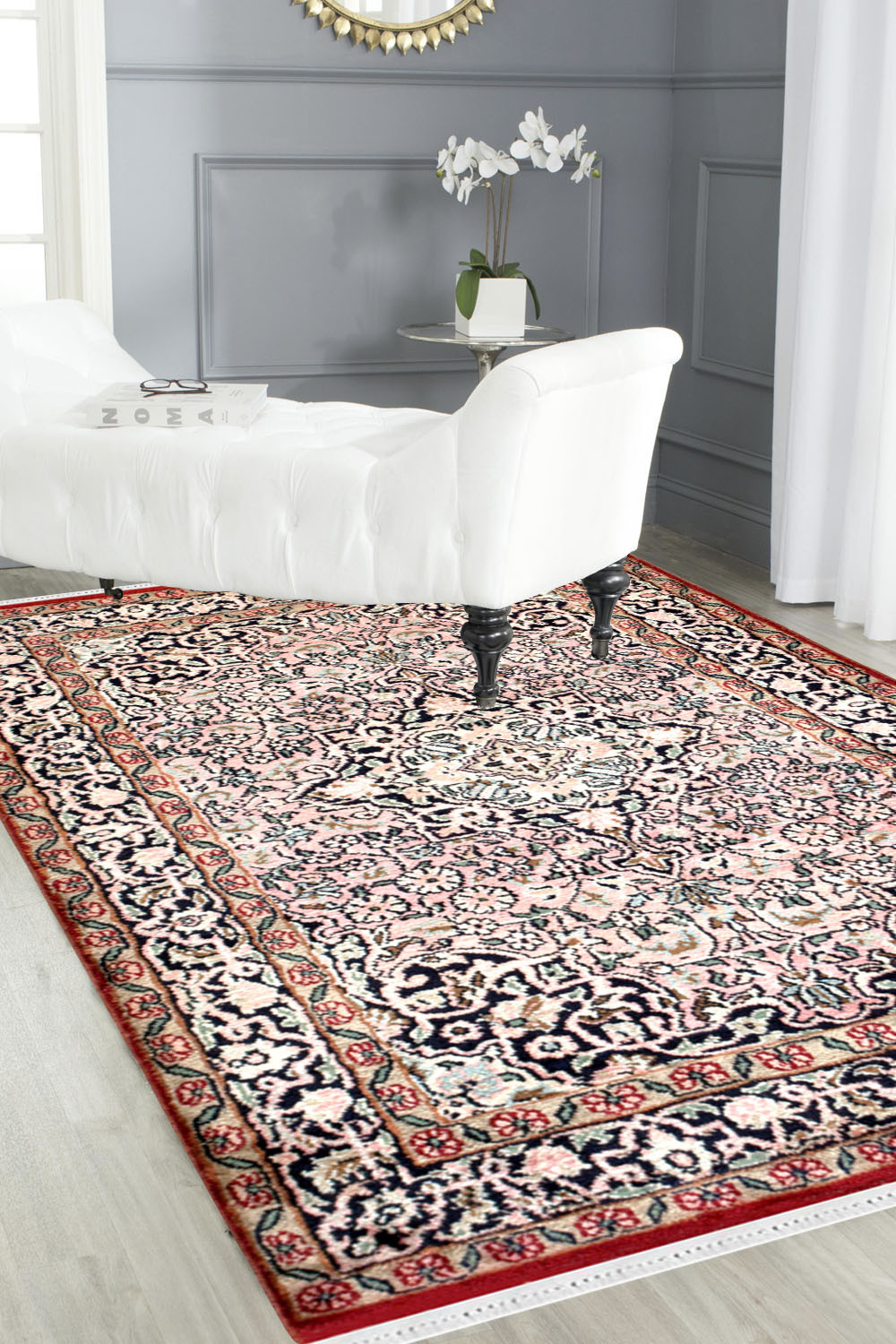 2x3 Salmon Kashan Carpet In Pink And Ivory Color At