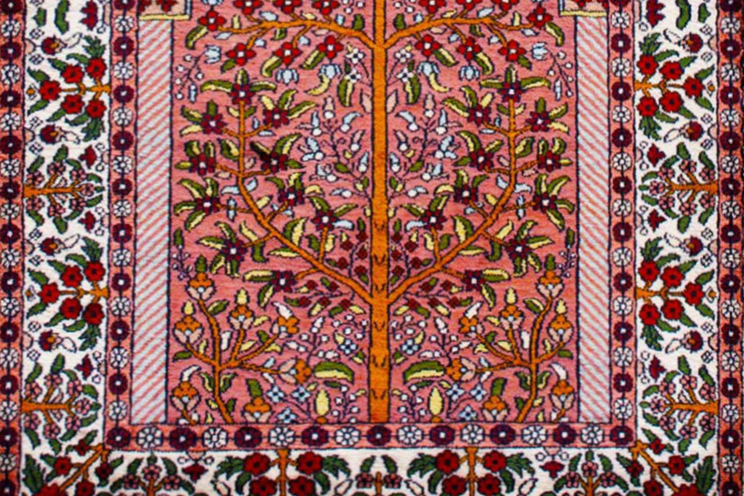 Eye Catching Salmon Tree Of Life Silk Area Carpet At Rugs