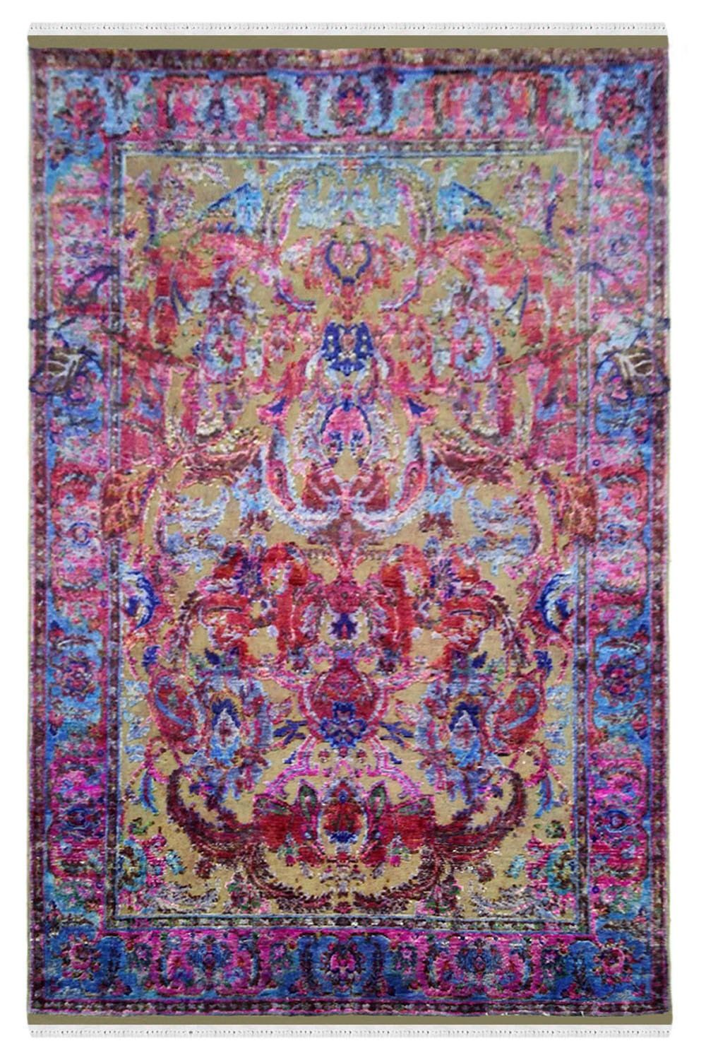 Pink Dragon Handmade Sari Silk Modern Area Rugs And Carpets Online