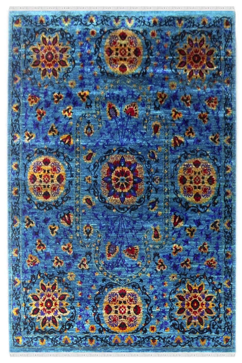 Sunshine Flower Stunning Handmade Sari Silk Carpet At At