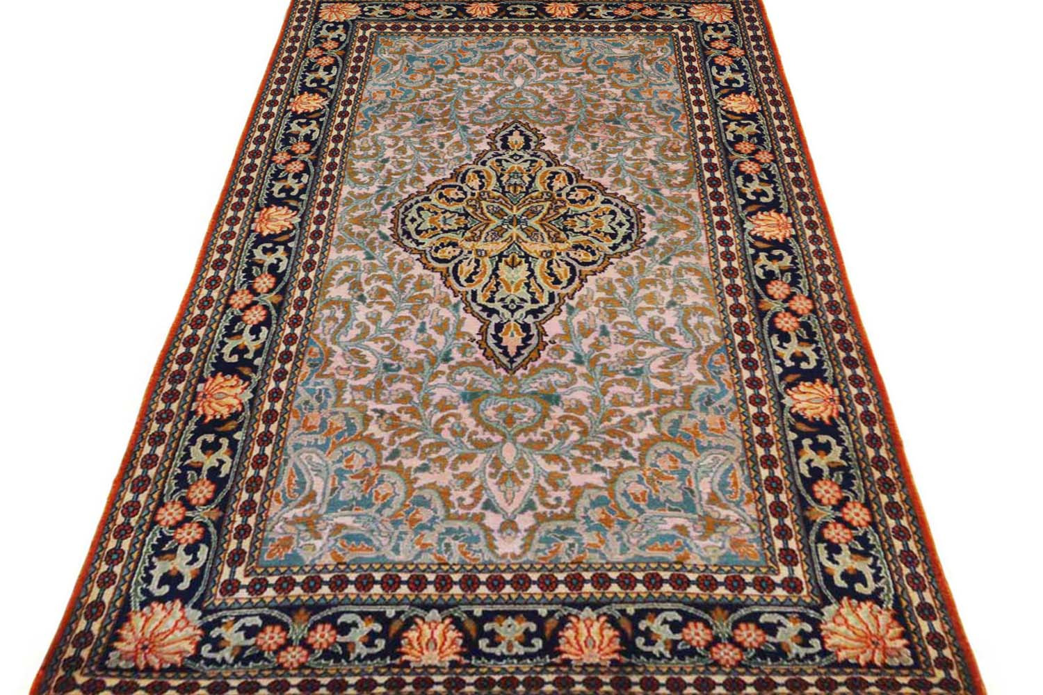 Teal Medallion Kashan Rug Buy Wool Rugs Online