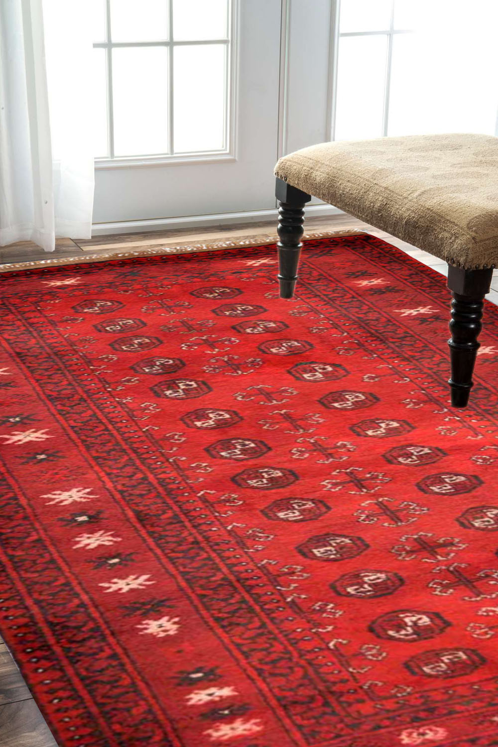 Tribal Bokhara Une Afghan Rug With Elegant Design And Best