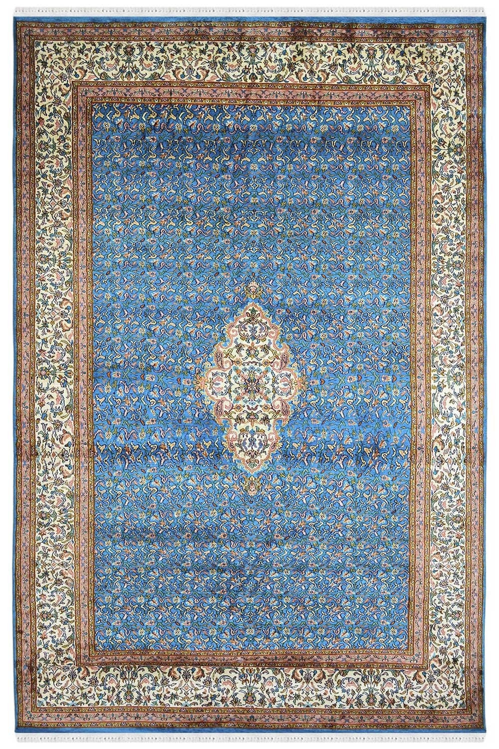 Vibrant Turquoise Color Pure Silk On Silk Carpet In