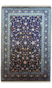 Sapphire Blue Floral Hand Knotted Woolen Area Rug