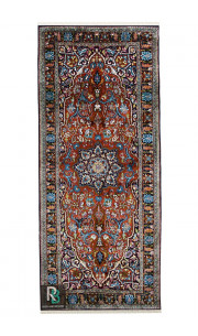 Rust and Blue Ardabil 3x7 Size Traditional Silk Runner