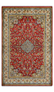Rouge Open Kashan Silk Rug