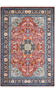 Forest Kashan Silk Area Rug