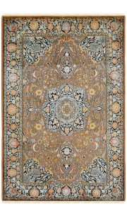 Gold Coin Kashan Silk Carpet