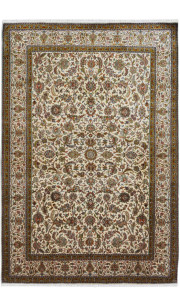 Swirling Kashan Silk Area Rug