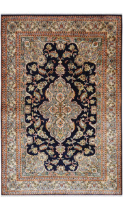 Neel Medallion Kashan Silk Traditional Rug