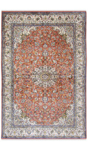 Rust Silk Kashan Area Rug