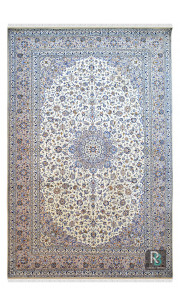 Traditional Ivory Oval Wool Carpet