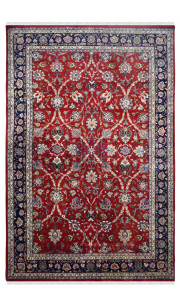 Floral Curve Handknotted Red Wool Carpet