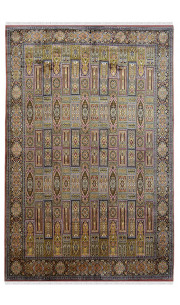 All Over Rouge Fleur Hamadan Handmade Silk Rug
