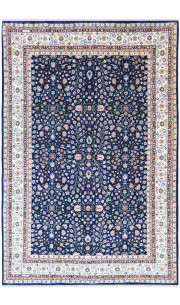 Pictorial Blue Handknotted Wool Rug