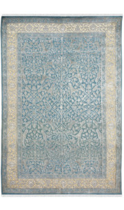 Bluewish Arrow Handknotted Woolen Area Rug