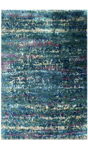 Deep Blue Sea Handmade Sari Silk Rug