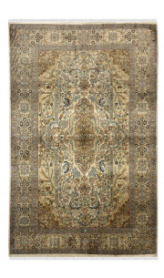 Ivory and Green Traditional Persian Design Kashmiri Silk Rug