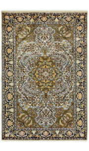 Kashan Green Medallion Persian Design Silk Rug