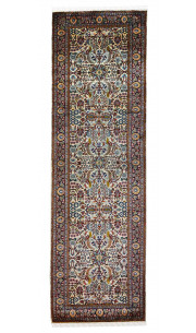 Jewel Kashan Silk on Cotton Ivory and Blue runner