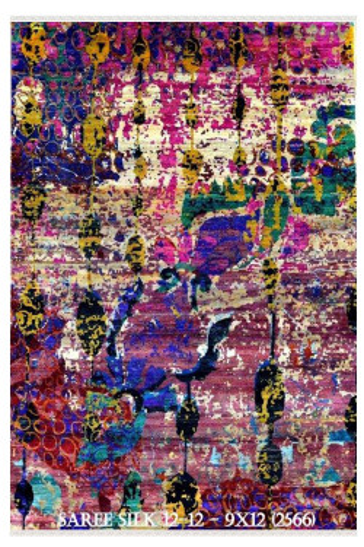 Riot of Colors Saree Silk Area Rug