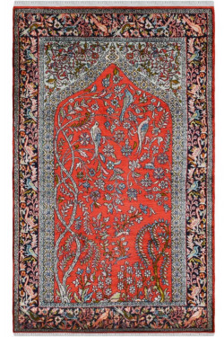 Rust Color Tree of life Small Silk Area Carpet
