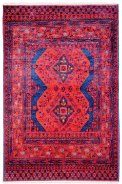 Eclectic Kirman Afghan Carpet