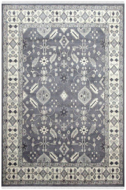 Gray Inward Monochrome Woolen Area Rug