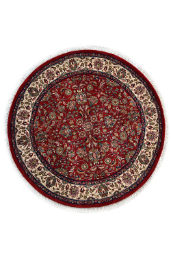 Garden Flower Medium Maroon Handknotted Round Rug