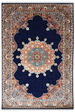 Blue ardabil persian design handknotted silk carpet