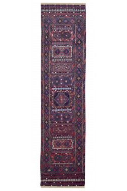 Abstract Baluch Blue Runner Rug