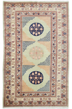 Antique Cream Ethnic Design Vintage 6 by 9 ft Carpet