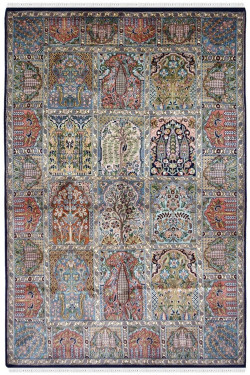 Antique Style persian hamadan small size 3 by 5 silk carpet