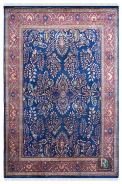 Blue Lilian Oriental 8 x 10 ft Wool Carpet