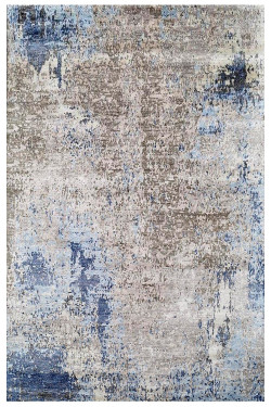 Blue Erased Handknotted Modern Wool Carpet