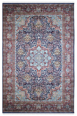 Floral Kashan Medallion Blue Handknotted Silk Floor Rug