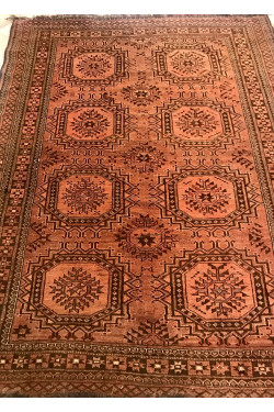 Bokhara traditional brown handknotted vintage rug
