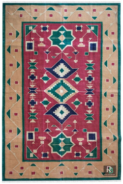 Cotton Traditional Flat-Woven Panja Dhurrie