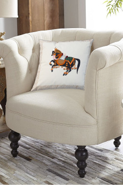 Black Stallion Cotton Printed Pillow
