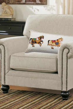 Three Stallions Horse Printed Cotton Pillow